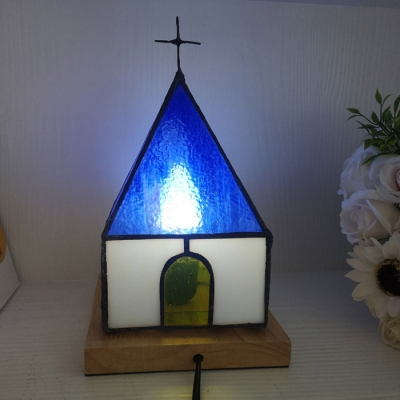 Art Glass House Desk Light 1 Head Tiffany Lovely Night Light with Plug-In Cord for Boys Bedroom