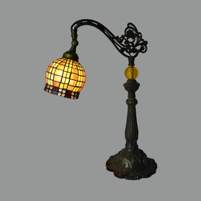 1 Light Cone/Dome/Globe Desk Light Tiffany Antique Stained Glass Table Light for Study Room
