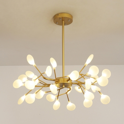 Fashion Branch Chandelier 30/45/54 Lights Acrylic Metal Pendant Light in Gold for Cloth Shop
