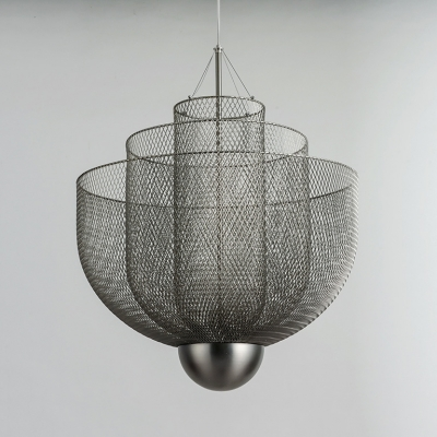 Iron Bowl Cage Chandelier Dining Table Modern Creative Pendant Light in Gold/Silver Finish