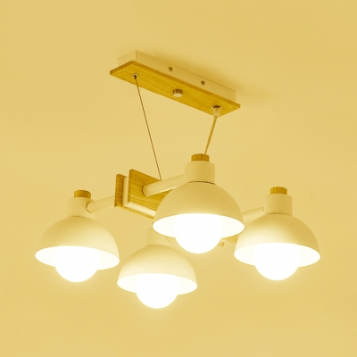 White Domed Island Light 4/6 Lights Nordic Macaron Metal Island Pendant for Living Room