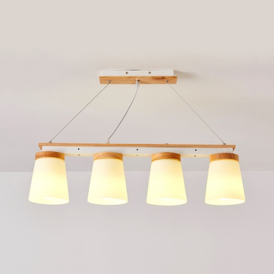 Bucket Shade Living Room Island Light Frosted Glass 3/4 Bulbs Modern Style Island Chandelier in White