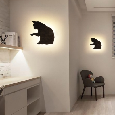 Black Cat LED Sconce Light Modern Stylish Metal Wall Lamp with Warm Lighting for Dining Room