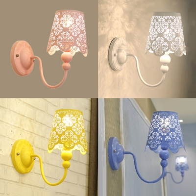 1 Head Tapered Wall Light Kids Metal Floral Hollow Sconce Light in Blue/Pink/White/Yellow for Girl Bedroom