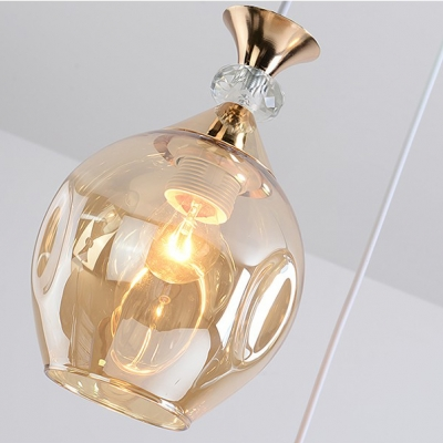 Amber/Blue/Gray Glass Shade Restaurant Pendant Lamp Modern Style Mini Hanging Light in Gold Finish