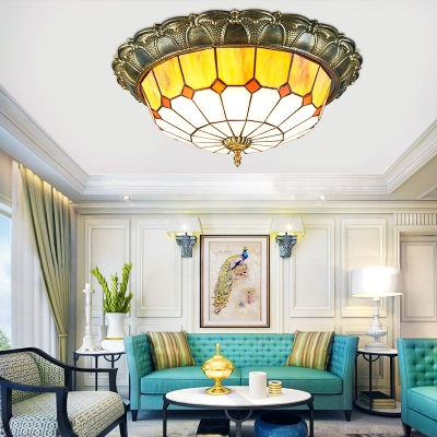 Art Glass Dome Flush Ceiling Light Traditional Tiffany Ceiling Lamp in Blue/Yellow for Dining Room