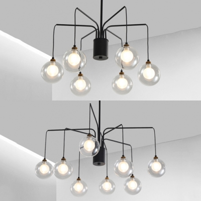Black Spider Chandelier with Orb 6/8 Lights Traditional Metal Hanging Light for Dining Room