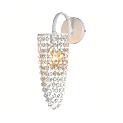 Candle Cafe Restaurant Sconce Light Metal Single Light Luxurious Wall Light with Crystal Bead in White