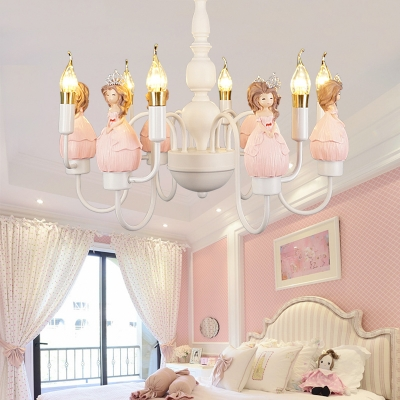 Candle Girls Bedroom Chandelier with Princess 6 Lights Modern Lovely