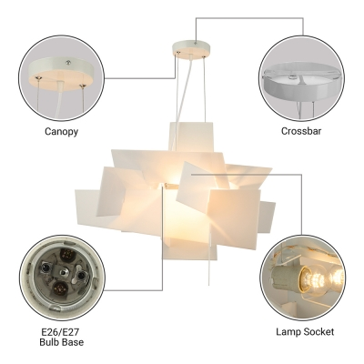 Deisgner Lighting White Acrylic Novel Chandelier Pendant Light
