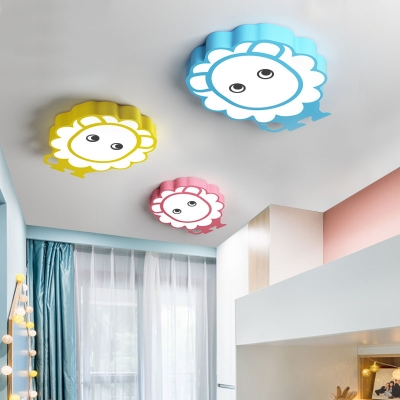 Lovely Cartoon Lion Flush Ceiling Light Acrylic Candy Colored LED Ceiling Fixture in Warm/White for Hallway