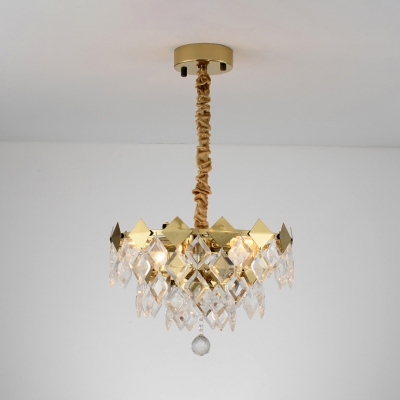 Luxurious Gold Finish Hanging Light Diamond Clear Crystal Metal Chandelier for Corridor Hotel