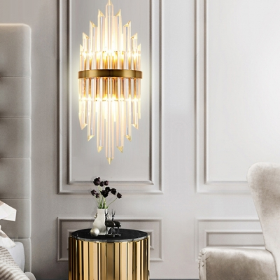 Modern Stylish Gold Wall Light Two Heads Linear Clear Crystal Wall Lamp for Bedroom Kitchen