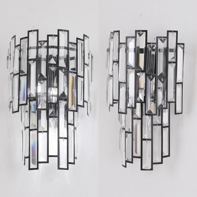 Mosaic Hallway Hotel Wall Light Clear Crystal Modern Style Wall Lamp in Black