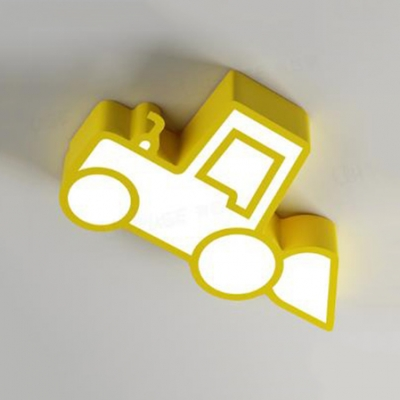 Nursing Room Excavator LED Ceiling Light Metal Cute Warm/White Flushmount Light in Blue/Green/Red/Yellow