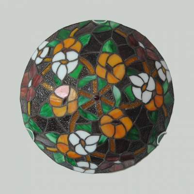 Stained Glass Flower/Lotus Ceiling Mount Light Study Room Tiffany Rustic Flush Light
