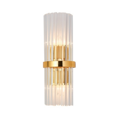 Stair Hallway Cylinder Wall Sconce Clear Crystal Metal Modern Style Gold LED Wall Light