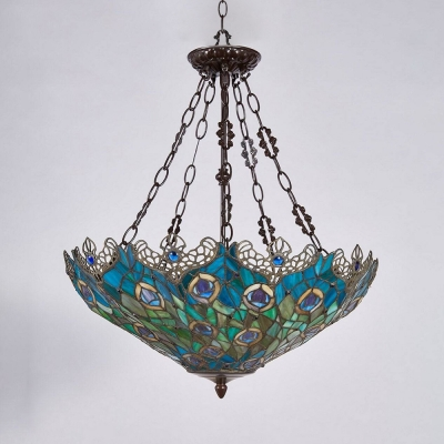 Tiffany Blue Peacock Feather Patterned Bowl Shade Pendant Light in Antique Brass Finish