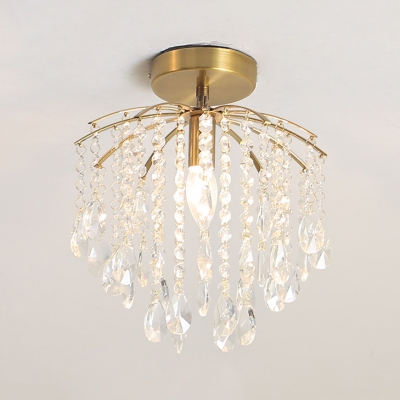 Traditional Candle Small Chandelier with Glittering Crystal Metal 1 Light Gold Ceiling Light for Balcony
