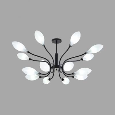 Traditional Leaf Shaped Chandelier Milk Glass 8/12/16 Heads Black Pendant Light for Living Room