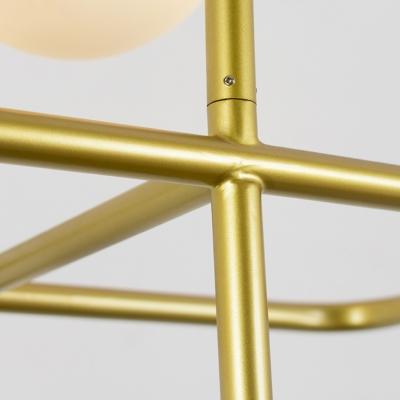 1/2 Head Rectangular Hanging Light Fixture Post Modern White Glass Shade Pendant Lamp in Gold