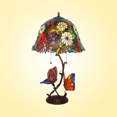 2 Lights Blossom Table Light with Butterfly Rustic Tiffany Stained Glass Table Lamp for Restaurant