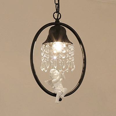 Classic Bell Pendant Light Single Light Metal Black/Gold Suspension Light with Angle Crystal for Foyer