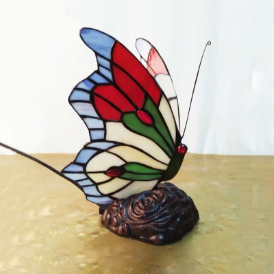 One Head Butterfly Night Light Creative Tiffany Stained Glass Table Lamp for Baby Bedroom