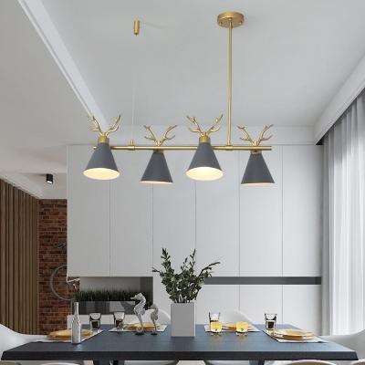 Metal Antlers Island Light Dining Room 4 Lights Modern Nordic Island Lamp in Black/Gray/White