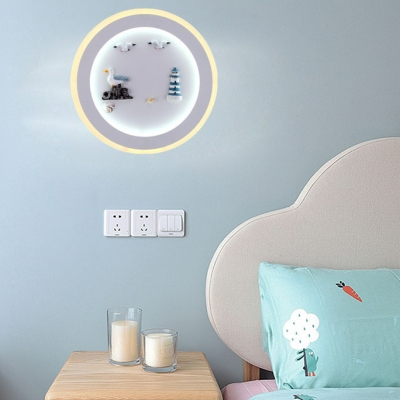 Sea View Kindergarten Wall Light Metal Nautical Style LED Sconce Light in White Finish