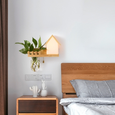 Glass Globe/Lodge Wall Light with Wood Shelf 1 Head Rustic LED Sconce Light in Beige for Kid Bedroom