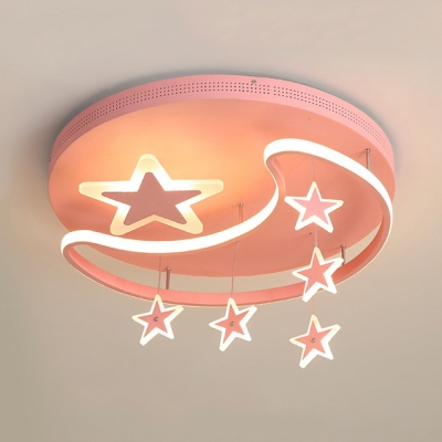 Acrylic Starry LED Flush Ceiling Light Fashion White Ceiling Lamp in Warm/White for Game Room