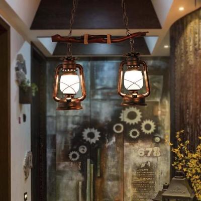 Balcony Corridor Kerosene Island Light Metal Two Lights Vintage Style Island Chandelier in Aged Brass