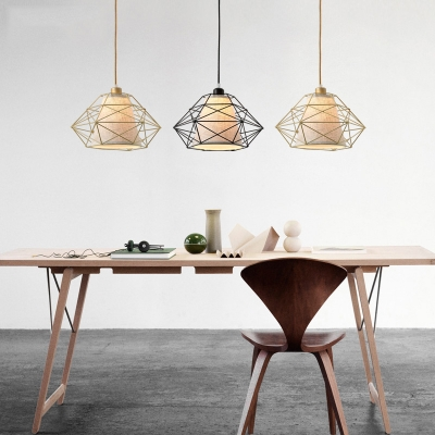 Black Gold Diamond Metal Cage Hanging Light Post Modern Fabric Shade Drop Light Over Dining Table Beautifulhalo Com