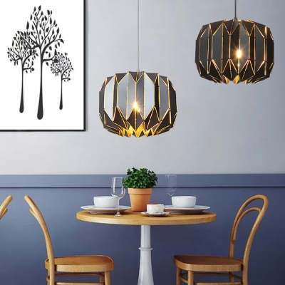 Black/Silver Geometric Hanging Pendant Lamp Contemporary Metal Shade Drop Light for Dining Room