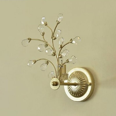 Classic Style Candle Wall Sconce with Clear Crystal One Light Metal Wall Light in Gold for Dining Room