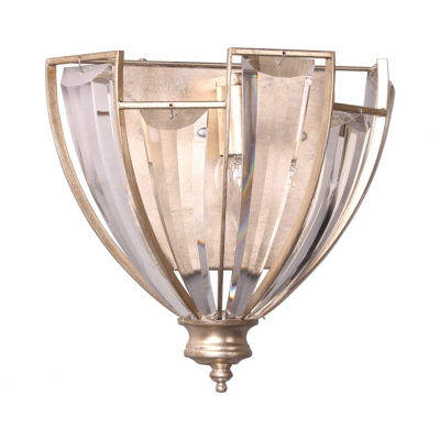 Classic Style Champagne Wall Light Candle One Light Metal Sconce Light with Glittering Crystal for Cafe