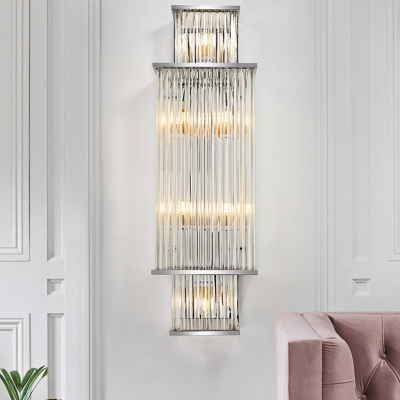 Clear Crystal Rectangle Wall Sconce Modern Luxurious Sconce Light in Chrome for Bedroom Stair