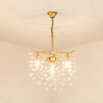 Dining Room Branch Chandelier with Crystal Leaf Metal 3 Heads Luxurious Gold Ceiling Pendant