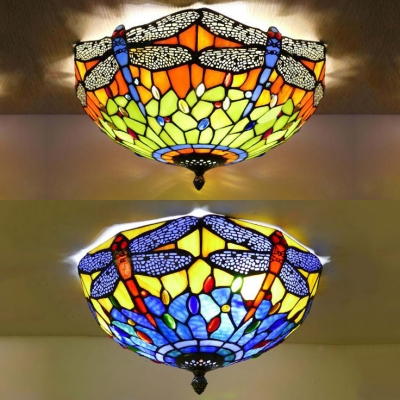 Dragonfly Child Bedroom Ceiling Mount Light Stained Glass Tiffany Rustic Flush Light in Blue/Orange