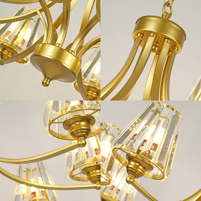 European Style Tapered Shade Chandelier 3/5/6 Lights Metal Hanging Light in Gold Finish for Hotel