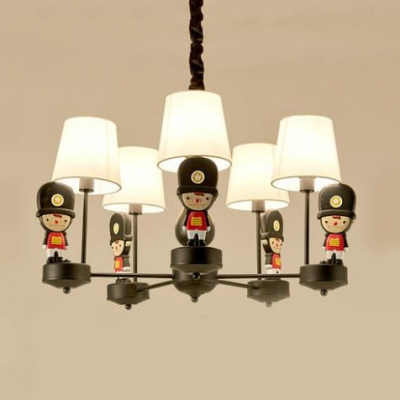 Fabric Plaid/White Shade Chandelier 6 Lights Creative Hanging Light with Soldier in Black