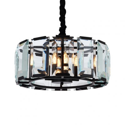 Iron Drum Hanging Light with Clear Crystal Panel 4 Lights Antique Chandelier in Black for Cafe