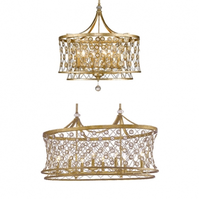 Luxurious Candle Pendant Light with Drum Shade & Crystal Wrought Iron 6/8 Lights Antique Style Chandelier in Champagne