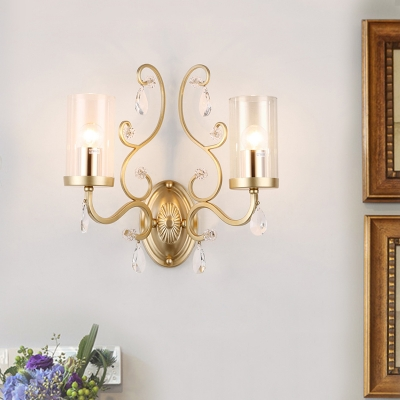 Metal Candle Wall Light with Teardrop Crystal 1 Light Traditional Sconce Light in Gold for Corridor
