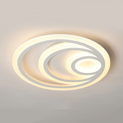 Modern Slim Ring Flush Mount Light Acrylic Warm/White LED Ceiling Fixture for Study Room