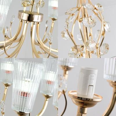 Tapered Shade Restaurant Chandelier with Crystal Metal 6/8/10 Lights Elegant Pendant Light in Gold