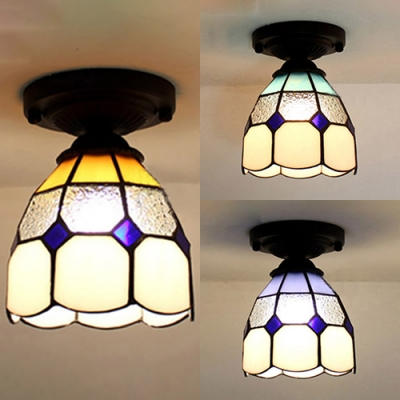Tiffany Grid Dome Mini Ceiling Mount Light 1 Head Art Glass Flush Light in Blue/Sky Blue/Yellow for Stair