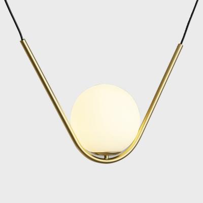 White Glass Ball Hanging Pendant Modern 1 Light Suspension Lamp in Gold Finish for Restaurant