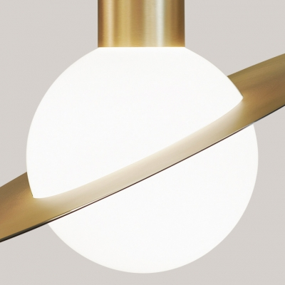 White Glass Shade Planet Design Hanging Light Modern Style 1 Head Pendant Lamp in Gold